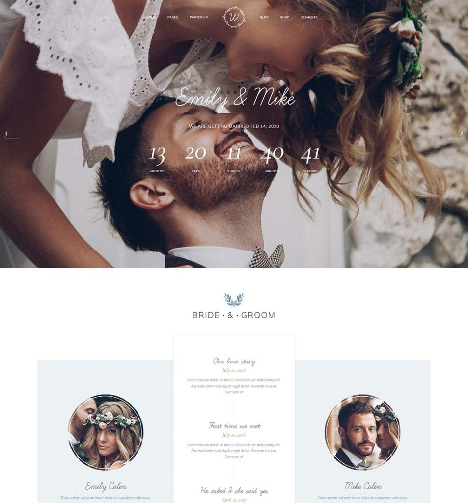 personal wedding website example